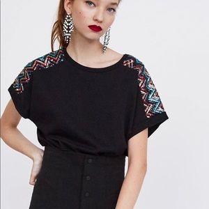 Zara Trafaluc Black Shoulder Sequins Tee